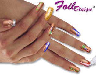 Дизайн ногтей из лент из фольги